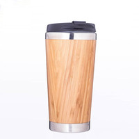 Wholesale natural water bottle resale online - Natural Bamboo Water Bottle With Lids Heat Resistant Stainless Steel Vacuum Cups Eco Friendly Favor Gift Dinkware kt ii