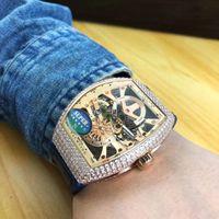 beliebte armbanduhren großhandel-Beliebte Neue Herrenuhr Importiert Automatische Mechanische Bewegung 54 * 42 MM Hohl Zifferblatt Diamant Lünette Lederband Mode Herrenuhr