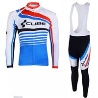 mannschaftswürfel langhaar großhandel-CUBE 2019 Frühling LangarmRennradsportbekleidung Mountain MTB Pro Team Radtrikot-Set Ropa Ciclismo Hombre Sports Uniformes Y011102