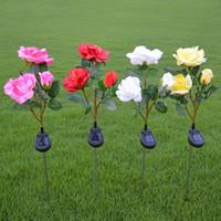 Wholesale solar garden led flower lights for sale - Group buy NEW Outdoor Solar Powered Rose LED Light Home Garden Lawn Flower Landscape Lamp Bulb