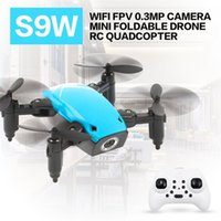 voltear cámaras al por mayor-S9 S9W plegable RC Mini Drone Pocket Drone Micro RC Helicóptero con WIFI FPV 0.3MP cámara 360 grados Flip