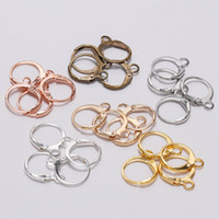 базовые серьги оптовых-20pcs/lot 14*12mm Silver Rose Gold Antique Bronze French Earring Hooks Wire Settings Base Hoops Earrings For DIY Jewelry Making