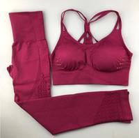 yoga seti fitness giyim toptan satış-Kadınlar Yoga Set Spor Giyim Spor Kadın Spor Tayt Yastıklı Şınav Strappy Spor Sutyeni 2 Adet Spor Takım Elbise