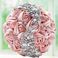 ingrosso fare il bouquet di fiori-Wedding artificiale Mazzi fiore fatto a mano con strass damigella d'onore sposa Cristallo Bouquet De Mariage
