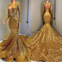 Wholesale golden mermaid gown resale online - 2019 Golden Long Sleeves Sequins Mermaid Prom Dresses Beaded Stones Backless Sweep Train Vestidos de Festa Party Evening Gowns BC0577