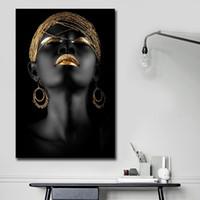 art mural salon africain achat en gros de-Africaine Femme Noire Toile Impression Mur Art Peinture Abstraite Toile Peintures pour Mur et Décor À La Maison Salon Room Decoraction