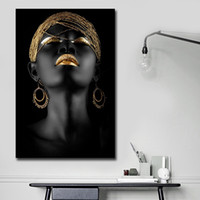Wholesale african women paintings abstract resale online - African Black Woman Canvas Printing Wall Art Abstract Painting Canvas Paintings for Wall and Home Decor Living Room Decoraction