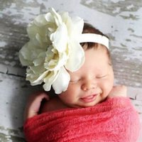 Wholesale hair bow weave for sale - Group buy 8 Colors Kids Peony Flowers Headband Girls Floral Headband Newborn Hair Bow Weave Headwear Hair Band