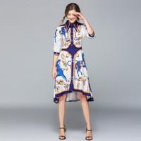 moda kadınlar elbise elbise toptan satış-Moda Tasarımcısı Pist Elbise Yaz Kadın Elbise Kadın Yaka Yaka Yarım Kol Düzensiz Midi Gömlek Shift