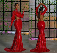 Wholesale reception dresses resale online - 2020 Arabic Aso Ebi Red Sexy Sparkly Evening Dresses Mermaid Backless Beaded Prom Dresses Sequined Formal Party Second Reception Gowns