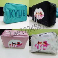bakır kozmetik toptan satış-Stokta Kylie çanta Kozmetik Doğum Günü Paketi Bronz Kyliner Bakır Creme Gölge Dudak Kiti makyaj Saklama Çantası pembe gümüş siyah yeşil