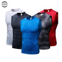 camisetas de secado rápido al por mayor-Medias de compresión de los hombres elásticos altos de Yel Gimnasio Chaleco Camiseta de deporte sin mangas de secado rápido para hombre Chaleco Sport Tee Cool Running