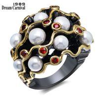 imitação anéis de noivado ouro branco venda por atacado-Dreamcarnival 1989 Anéis de Noivado Gótico Do Vintage Preto Cor de Ouro Cz Vermelho Branco Imitação de Pérolas Mulheres Anel Masculino Wa11539 J190716