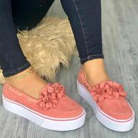 kayma sürüngenleri toptan satış-2019 Bahar Kadın Flats Ayakkabı Platformu Sneakers Daireler Üzerinde Kayma Deri Süet Bayanlar Loafer'lar Rahat Çiçek Ayakkabı Kadın Creepers
