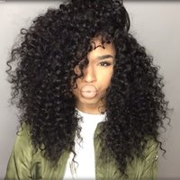 Wholesale unprocessed curly brazilian hair wig online - Fashion popualr unprocessed new virgin human hair kinky curly best grade natural color full front lace wig for black women