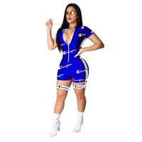kadın fermuar atletler toptan satış-Kadın Şampiyonlar Mektup Şort Tulum Yaz Kısa Kollu Fermuar Tulum Spor Egzersiz Spor Bodycon Tayt Kulübü Bodysuit A42204 Gül