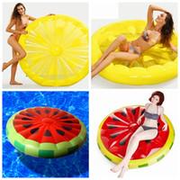 aufblasbare wasserbetten großhandel-Aufblasbare Zitrone Wassermelone Wasser Spielzeug Riesen Schwimmbett Floß Luftmatratze Sommerurlaub Swmming Ring 150 cm LJJZ439