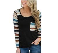 Wholesale womens fashion clothing online - Women Long Sleeve T Shirt New Womens Strip Casual T Shirts Sport Clothes Fashion Women Loose Street Wear Shirt Womens Top Clothing
