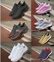 ingrosso scarpa nera libera-97 Classic Black Mens Shoes OG Metallic Gold Silver Bullet Shoes Uomo Donna Spedizione gratuita misura 36-45