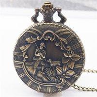 bronz cep saatleri toptan satış-Cebi Eski Bronz Kuvars Pocket Watch Analog Kolye Kolye Zinciri Erkek Kadın Erkek Kız Çocuklar için