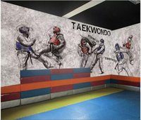 Wholesale art murals for kids resale online - WDBH d wallpaper custom photo Taekwondo gym boxing background martial arts hall room home decor d wall murals wallpaper for walls d