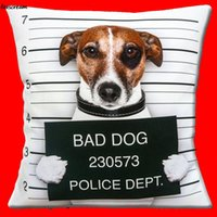 Wholesale novelty cushion covers resale online - Funny Bad Dog Cushion Cover Novelty Jack Russell french bulldog Throw Pillows Case Chair Seat Sofa Cushions