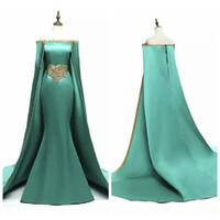 güzel şifon balo elbiseleri toptan satış-2019 Sıcak Satış Yeşil Mermaid Uzun Balo Abiye Suudi Arapça Müslüman Kapalı Omuz Bateau Boyun Boncuklu Kemer Kızlar Parti törenlerinde