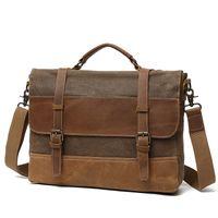 eski tuval deri dizüstü çantası toptan satış-Yağ Mumu Kanvas Çanta Erkek Su Geçirmez Omuz Çantası Bağbozumu Tuval Deri Evrak 14