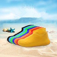 kaymayı önleyici çizme toptan satış-8styles Silikon Anti-Skid Yağmur Ayakkabı Çizme Su geçirmez Yağmurluk Kapak Su galoş Kaymaz Plaj çorap yağıyor Ayakkabı Çalma FFA1970-1