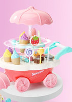 Wholesale toy shopping trolleys resale online - Simulated Mini trolley for children s birthday gift of ice cream shop ice cream candy trolley Girl Toys