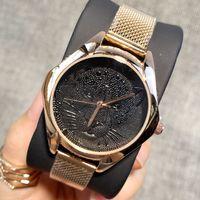 leopardo rosa ouro venda por atacado-2019 Moda senhora relógios mulheres assistem leopardo dial aço inoxidável rosa pulseira de ouro relógios de pulso relógio de luxo agradável ocasional novo relógio feminino