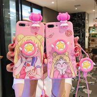 güzel cep telefonları toptan satış-Güzel kız cep telefonu kılıfı için iPhone xs max kordon XR OPPO R17 dirsek çift X23 için yumuşak kabuk cep telefonu kabuk