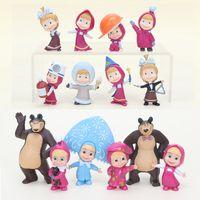 Wholesale masha bear toys for sale - 5 cm the Bear Painter Snow Maiden with teddy Girl Masha Action Figure PVC Figure Model Toy Dolls