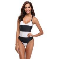 schwarze weiß gestreifte monokini großhandel-OBSSKY Frauen Sexy Badeanzug Plus Size Monokini Sommer Ferien Party Bademode Badeanzug Schwarz Weiß Gestreiften Patchwork