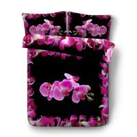 conjunto de consolador de rosa negra venda por atacado-Conjunto de cama preto flor consolador quilt cover jardim flor capa de edredão borboleta colcha mulheres meninas colorido rosa floral cama cobrir