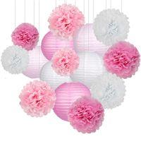 lanternes d'anniversaire achat en gros de-15pcs / Set papier Boules fleurs Poms papier Boules Honeycomb papier lanternes de fête d'anniversaire de mariage de baby shower Accueil articles de décoration