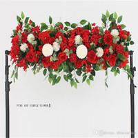 Wholesale flower wall backdrop resale online - Fashion Artificial Silk Peonies Rose Flower Row Arrangement Supplies for Wedding Arch Backdrop Centerpieces DIY Supplies