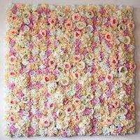 fundo da parede da flor venda por atacado-Atacado-40X60cm Artificial Silk Rose Flower Wall Decoração Decorativa de seda Hydrangea Wedding Decoration Backdrop fábrica por atacado