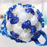 ingrosso bouquet di nozze rosa avorio-Corallo Rosa Avorio Champagne Raso Rosa Bouquet Mazzi di fiori Nastro Matrimonio Bouquet da sposa Opzione colori