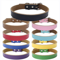 Wholesale solid color cat breakaway collars resale online - Cat Dog Leather Collar candy color Pet pure cowhide pet neck ring thickened Pet dog chain traction accessories AAA2247
