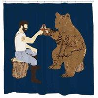 ingrosso tende all'orso-Bear Shower Curtain with Beer Rustic Bathroom Decor Resistente alla muffa impermeabile 12 ganci inclusi