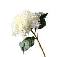 ortancası gövdeleri toptan satış-Yapay çiçek ortanca ipek çiçek ile kök ve yaprak için çar ev dekorasyon ev dekorasyon çar buket beyaz yeşil pembe kraliyet mavi