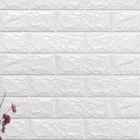 kinderzimmer ziegel tapete großhandel-70x77 cm DIY 3D Wandaufkleber Selbstklebende Schaum Ziegel Room Decor Tapete Wanddekor Wohnzimmer Wandaufkleber Für Kinderzimmer