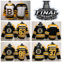 88 jersey de hockey para jóvenes al por mayor-Hombres Dama Juventud Boston Bruins Jersey Hockey sobre hielo 37 Patrice Bergeron 63 Brad Marchand 88 David Pastrnak Mujeres Jerseys Negro Hombre Niños Niños