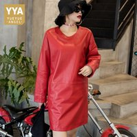 Wholesale leather ladies briefs for sale - Group buy Loose Casual Genuine Leather Dresses Women Black Red Spring Ladies Long Sleeve O Neck Solid Sheepskin Sexy Leather Dress