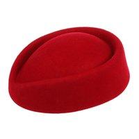 boinas de fiesta al por mayor-Nueva lana elegante de fieltro Cap Base pastillero azafata azafatas de la boina sombrero del partido (rojo)