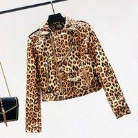 abrigo de manga larga de leopardo al por mayor-2019 Mujeres Leopard Motocicleta Chaquetas de cuero sintético con cremallera Chaquetas básicas para mujer Fajas Ropa de manga larga Otoño Biker Coat PY76