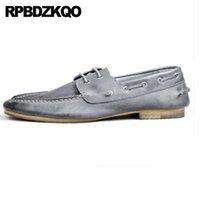 neue schuh europäische stile großhandel-Marke Hohe Qualität Echtes Leder Fahren Luxus Sommer Britischen Stil Italienische Männer Schuhe Marken New European Boat Handmade Genuine