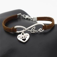 Wholesale dog chain bracelet for sale - Group buy Infinity Love Pets Cat Dog Paw Best Friend Heart Pendant Customized Bracelets Dark Brown Leather Suede Rope Adjustable Bangles For Women Men