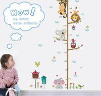 affe kinder dekor groihandel-Cartoon Tiere Löwe Affe Eule Elefant Höhe Maßnahme Wandaufkleber Für Kinderzimmer Wachstum Chart Kinderzimmer Dekor Wandkunst
